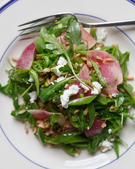 Arugula Salad with Farro, Watermelon Radishes, and Snap Peas
