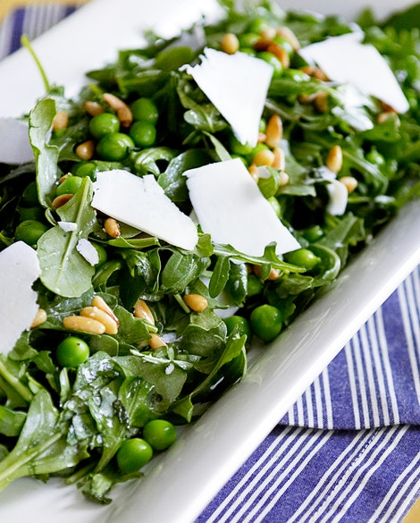 Arugula Salad with Peas, Pine Nuts, and Ricotta Salata