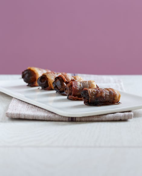 Bacon-Wrapped Dates with Almonds