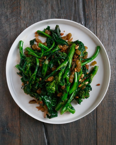 Broccoli Rabe with Pine Nuts and Golden Raisins