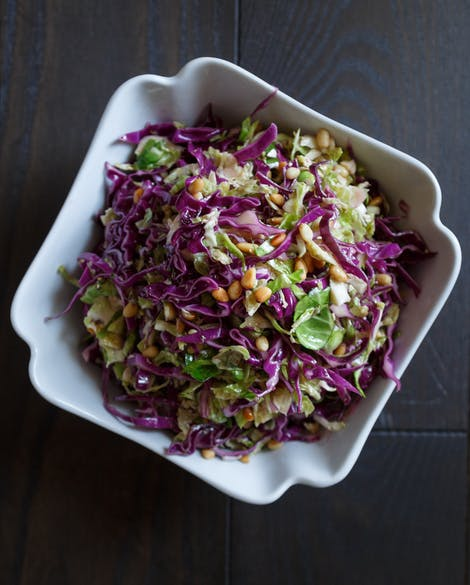 Brussels Sprouts and Red Cabbage Slaw