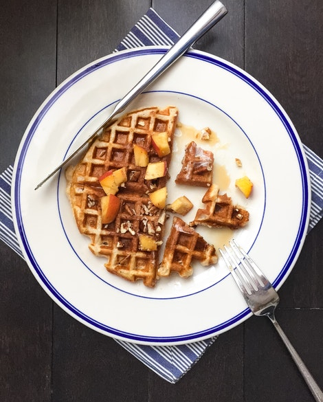 Buttermilk Pecan Waffles with Peaches