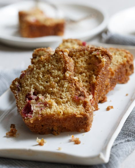 Cranberry Orange Tea Cake with Walnut Streusel