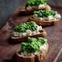 Pea-Mint Pesto + Ricotta Crostini