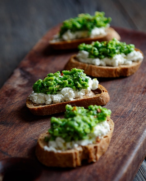 Crostini with Fresh Ricotta and Pea-Mint Pesto