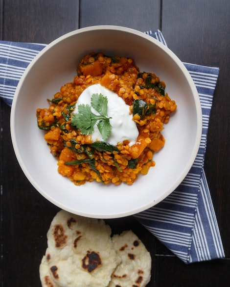 Orange Dal with Sweet Potatoes and Spinach