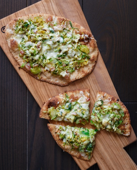 Easy Naan Pizzas with Brussels Sprouts