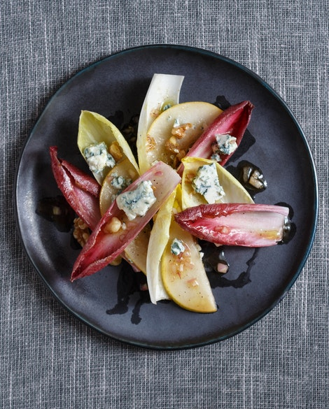Endive Salad with Pears, Blue Cheese, and Walnuts