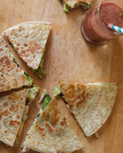 Gluten-Free Quesadillas with Black Beans, Chicken, and Avocado