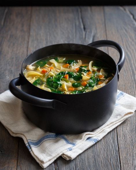 best homemade chicken noodle soup with spinach recipe