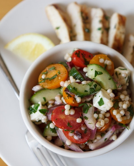 Israeli Couscous Salad with Lemon Grilled Chicken