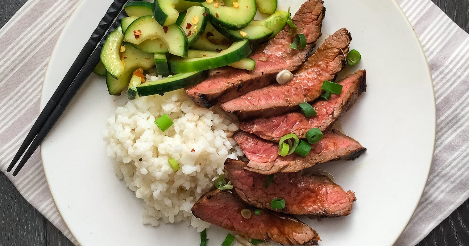 Best Korean-Style Grilled Flank Steak with Spicy Cucumbers ...
