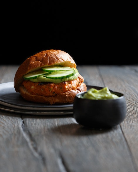 Lemongrass Salmon Burgers with Avocado Wasabi Sauce
