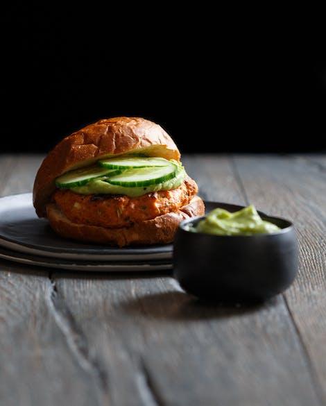 Lemongrass Salmon Burgers with Avocado Wasabi Sauce