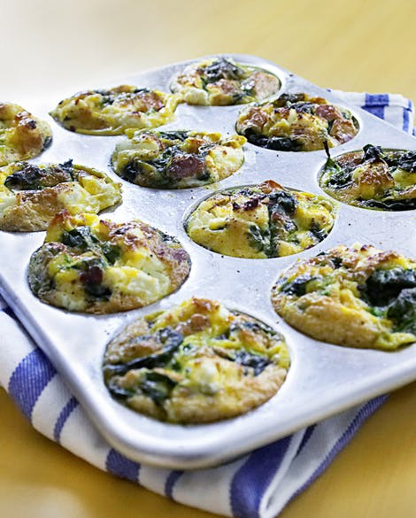 Mini Spinach, Bacon, and Goat Cheese Frittatas