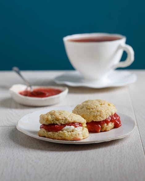 Orange Zest Scones with Strawberry-Rhubarb Compote