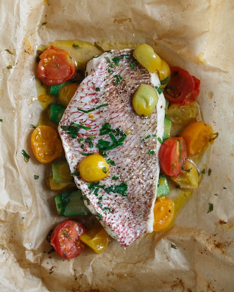 Parchment-Roasted Redfish with Summer Vegetables
