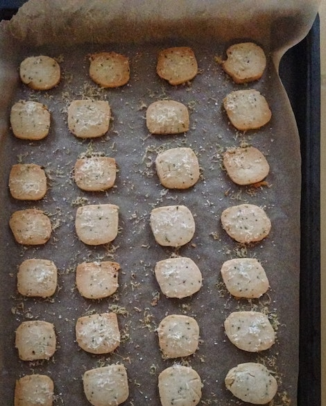 Parmesan Rosemary Biscuits with Fig Jam and Prosciutto
