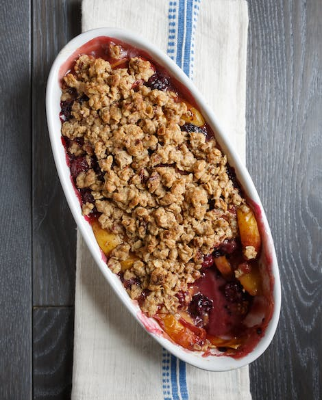 Peach Blackberry Crumble with Oatmeal Pecan Topping