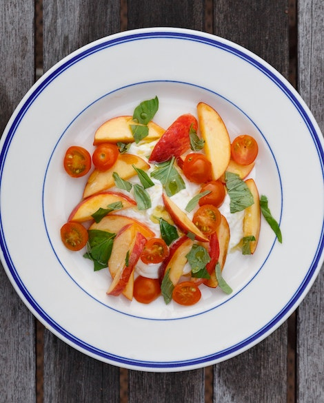Peach Burrata Salad with Golden Tomatoes
