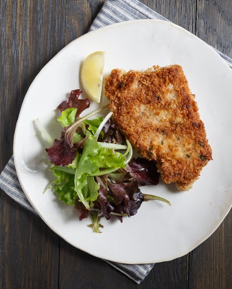 Pork Schnitzel with Mixed Greens