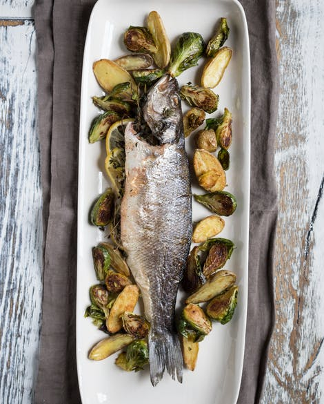 Roasted Branzino with Brussels Sprouts