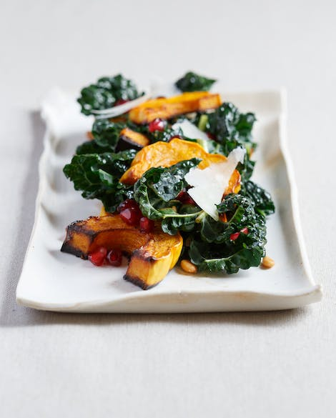Roasted Squash with Kale, Pine Nuts, and Pomegranate Seeds