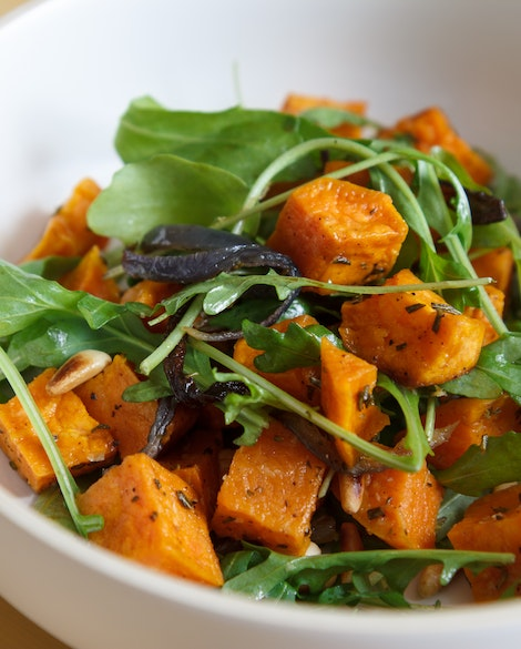 Roasted Sweet Potatoes with Red Onions and Arugula