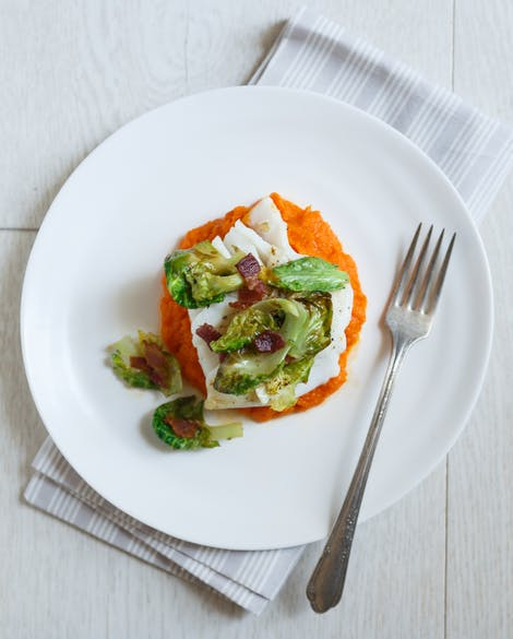 Sear-Roasted Cod with Brussels Sprouts, Bacon, and Carrot Purée