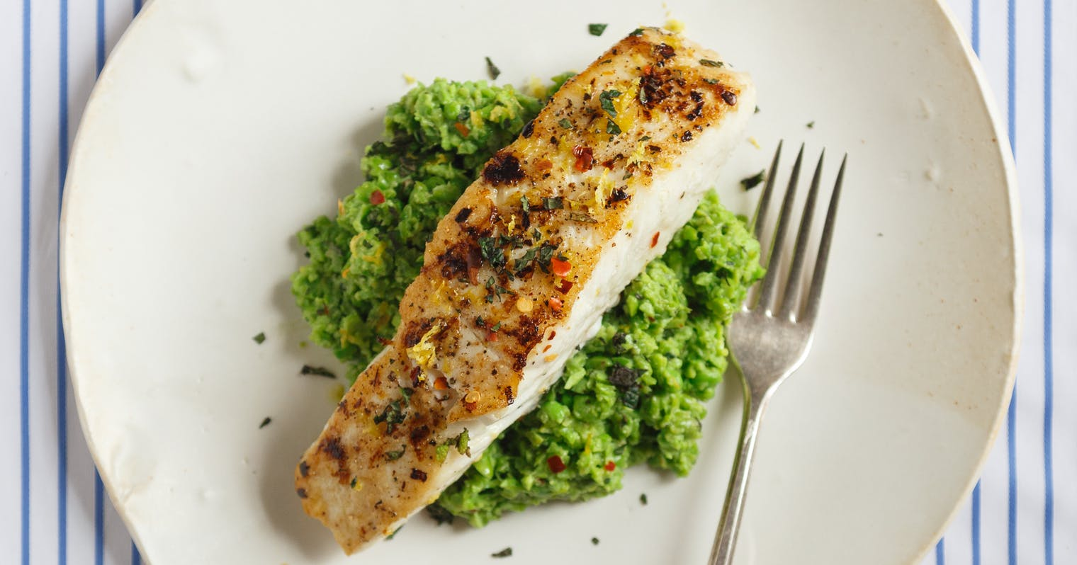 Best Seared Halibut with Pea-Fava Purée Recipe - The Yellow Table