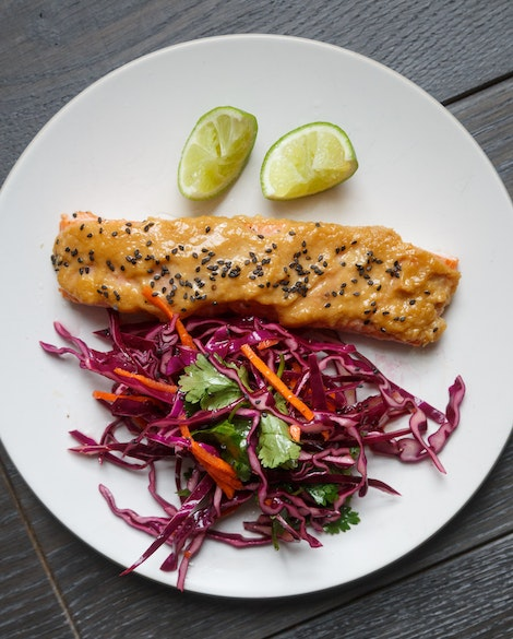 Sesame-Miso-Glazed Salmon with Red Cabbage Slaw