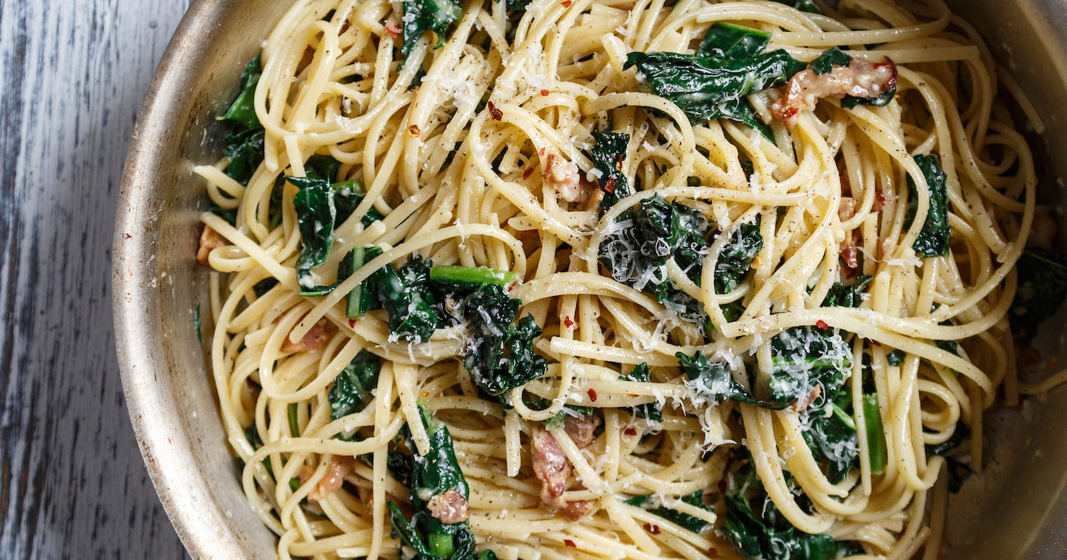 Best Spaghetti Carbonara with Garlicky Greens Recipe - The Yellow ...