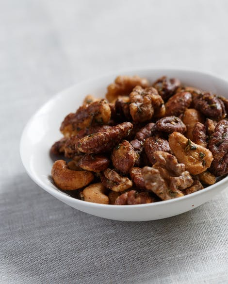 Spicy Maple-Rosemary Cocktail Nuts