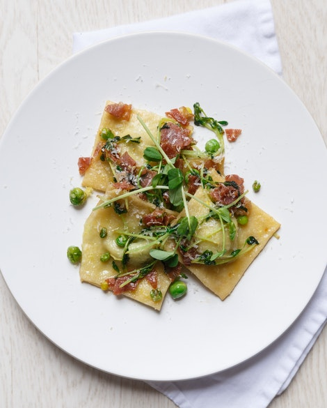 Spring Pea Ravioli with Proscuitto