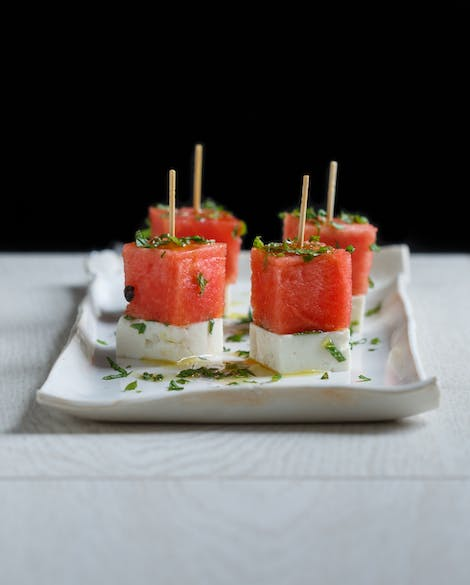 Watermelon, Feta, and Mint Skewers