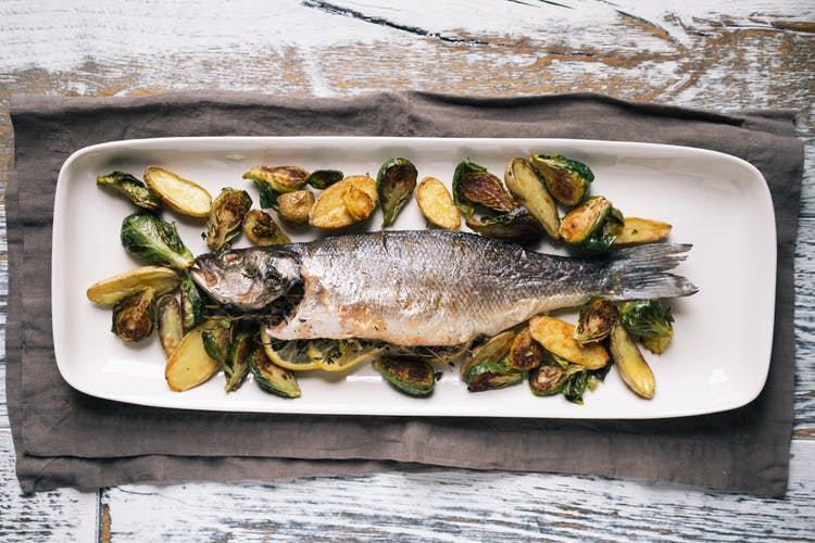 Day 52 whole roasted branzino with brussels sprouts for What is branzino fish