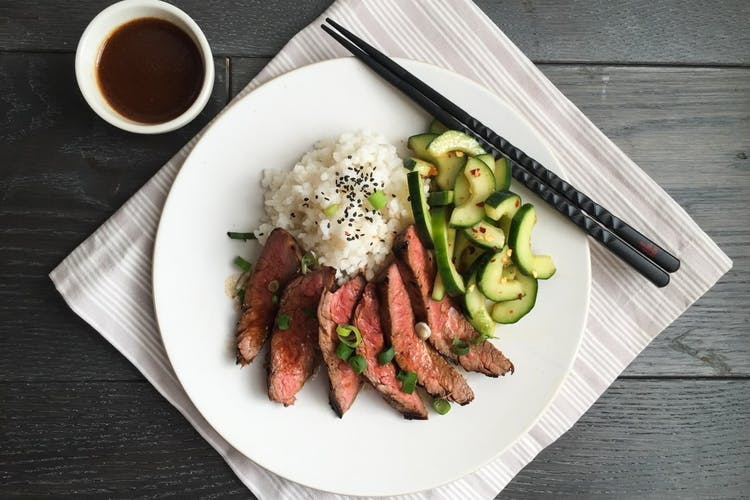 Korean-Style Grilled Flank Steak with Spicy Cucumbers and ...